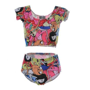 Summer Beach Suit Fashion Bottom Women Swimming Wear 3D Print Bathing Sets Push Up Sexy Swimsuit Treasure Fetch Adventure Time LNHst