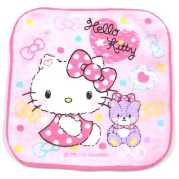 Tiny Hello Kitty and Teddy Bear Polka Dotted Dress Print Handkerchief Face Towel in Light Pink