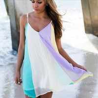 Rainbow Chiffon Beach Dress