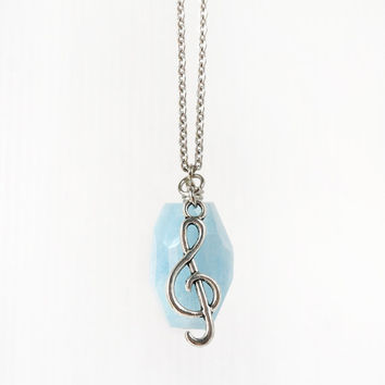 Music Necklace with Light Blue Aquamarine and G Clef Charm, Gift for Music Lover