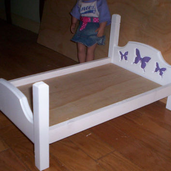 handcrafted American Girl doll size bed white with dark purple butterfly design