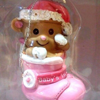 Christmas Ornament Sentiment Baby's First Christmas PinkHoliday Style New in box
