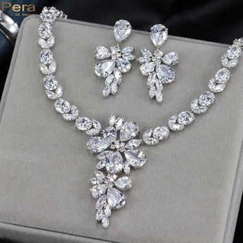 Pera Luxury Silver Color Fairy Sparkling CZ Crystal Bridal Wedding Big Drop Earrings And Necklace Jewelry Set For Brides J139