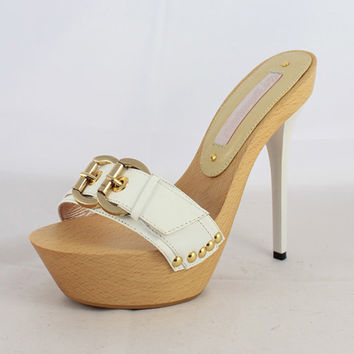 Designer Wood Sole High Platform Slippers White Stiletto Heels Buckle Strap Concise Women Shoes