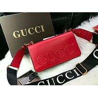 GUCCI New Popular Women Shopping Bag Leather Shoulder Bag Crossbody Satchel Red I-WXZ2H