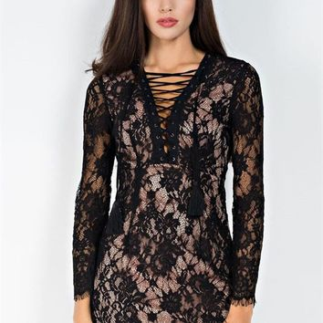 Stylish Long Sleeve Lace Short Dress - RissyRoos.com