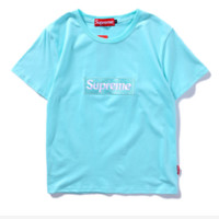 High quality Supreme embroidery short sleeve top tee T-shirt