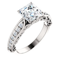 1.76 carat Asscher & round diamonds wedding anniversary ring white gold 14K