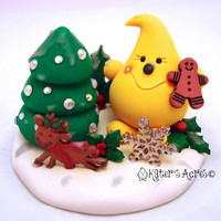 Parker's Icy Winter Christmas with Friends StoryBook Scene - Twelve Days of Christmas Polymer Clay Character Sculpture Figurine