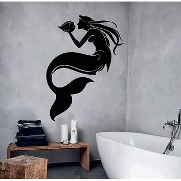 Vinyl Wall Decal Fairy Tale Mermaid With Shell Children's Room Stickers (2969ig)