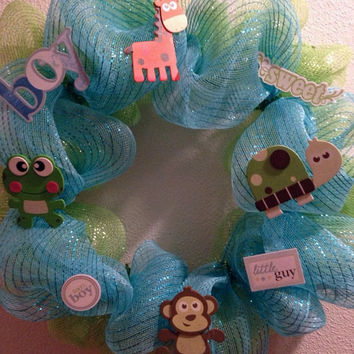Baby boy wreath, boy wreath, baby shower wreath, baby shower decoration