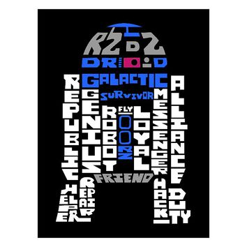 Star Wars R2D2 Typography Canvas Wall Art