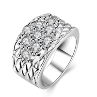 Rhombus White Gold Plated Wide Ring
