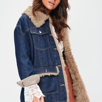 Missguided - Blue Faux Fur Lined Denim Jacket