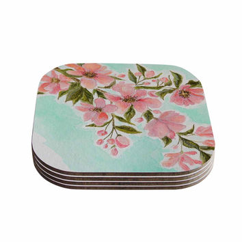 "Christen Treat ""Chieko"" Pink Mint Coasters (Set of 4)"