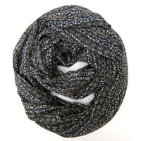 Floral Striped Scarf Women Infinity Scarf Eternity Scarf Teen Circle Scarf Black Tan Light Blue Multicolored Scarf Cute Back to School Scarf