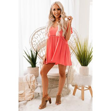 Bad For You Cutout Babydoll Top (Coral)