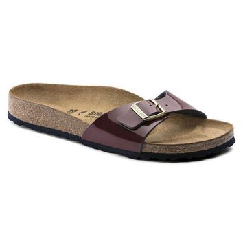 Sale Birkenstock Madrid Birko Flor Patent Two Tone Wine 1007971 Sandals
