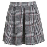 Petite Checked Box Pleat Skater Skirt | Boohoo