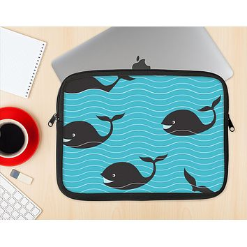 The Teal Smiling Black Whale Pattern Ink-Fuzed NeoPrene MacBook Laptop Sleeve