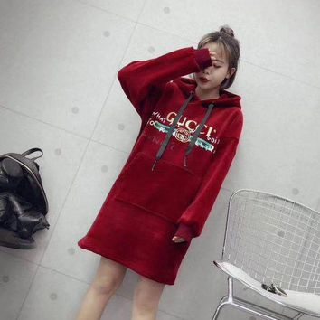 LMFUX5 GUCCI Women Velvet Fashion Hoodie Top Sweater Dress
