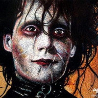"Print 8x10"" - Edward Scissorhands - Tim Burton Johnny DeppHorror Pop Art Dark Halloween Leather Fetish Gothic Frankenstein Vintage"