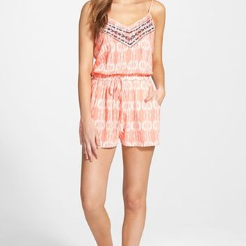 Junior Women's Trixxi Embroidered Romper,
