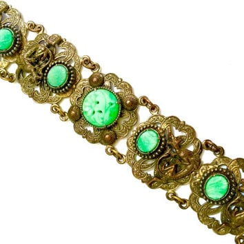 Art Deco Chinoiserie Bracelet, Jade Art Glass, Attributed to Neiger Asian Period, Dragon Gryphon 1920s
