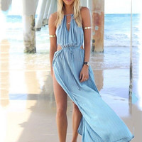 Halter Cut-Out Blouson Slit Maxi Dress