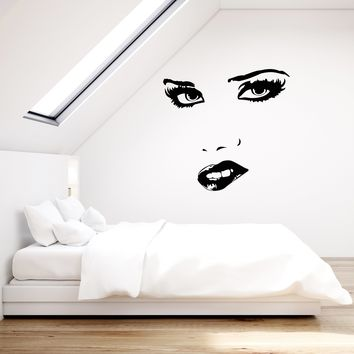 Vinyl Wall Decal Female Sexy Woman Face Eyes Lips Bedroom Decor Stickers Mural (ig5584)