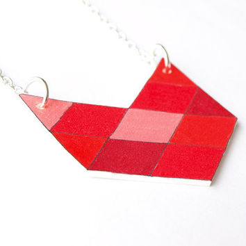 Geometric Chevron Necklace  Red  Made to Order by rareindeed