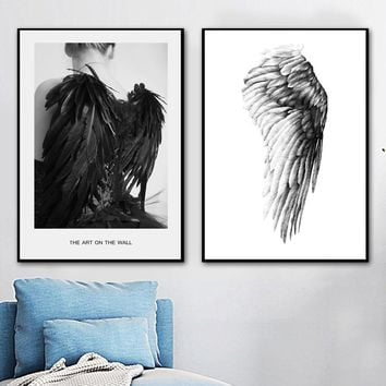Black White Feather Wings Girl Wall Art Canvas Painting Nordic Posters And Prints Wall Pictures For Living Room Bedroom Decor