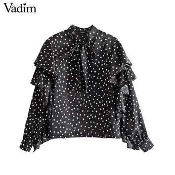 Vadim women sweet ruffles star pattern shirts bow tie neck long sleeve blouses vintage ladies casual chic tops blusas LT2626
