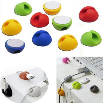 10pcs(same)Random Color Cable Drop Clip Desk Tidy Organiser Wire Cord Lead USB Charger Cord Holder Organizer Holder Secure Table