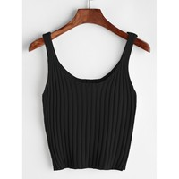 Ribbed Crop Tank Top BLACK