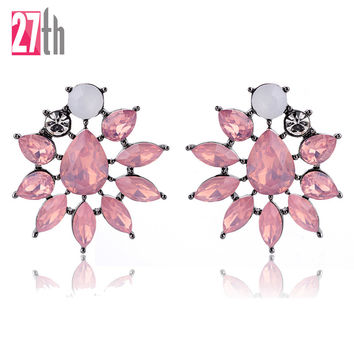 Classic Acrylic Flower Design Opal Stone Stud Earrings Elegant Statement Piercing Earrings