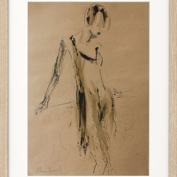 Original drawing Modern sketch Graphic art Contemporary figurative artwork Woman Fine art Home decor Female figure Mixed media Charcoal
