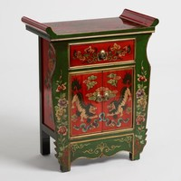 Green and Red Wood Lion Cabinet