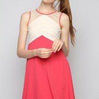 Fanciful Audacity Mesh Yoke Contrast Shift Dress in Cherry | Sincerely Sweet Boutique
