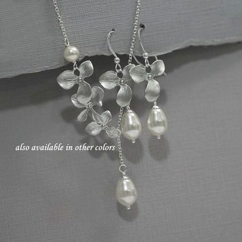 Orchid Necklace, Orchid and Pearl Necklace and Earring Set, Swarovski White Pearl Bridesmaid Jewelry Set, Bridesmaid Gift