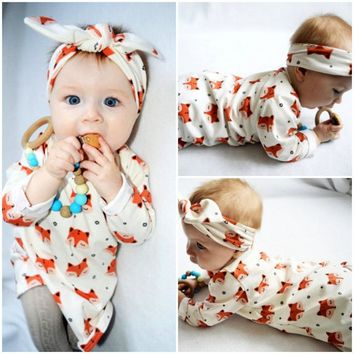New 2018 fashion newborn baby girl clothes long sleeve fox printed dress+headband 2pcs/suit infant clothing set Outfits