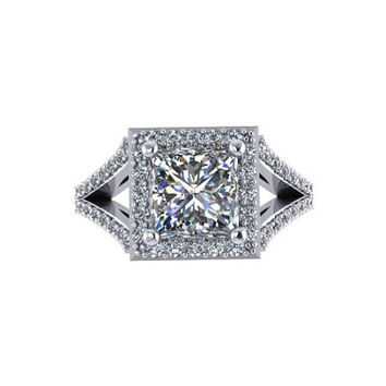Moissanite Engagement Ring Princess Cut Diamond Engagement Ring 14K White Gold with 6.5x6.5mm Moissanite Center - V1087