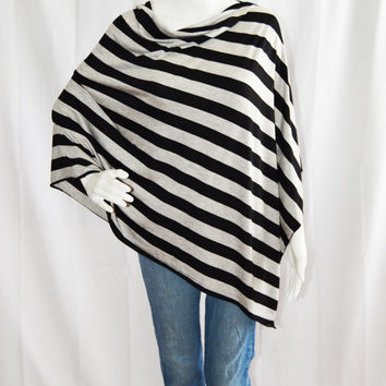 Black and Grey Striped Poncho/ Lightweight Nursing Cover/ Nursing Shawl/ One shoulder Top/ Lightweight Wrap/ New Mom Gift