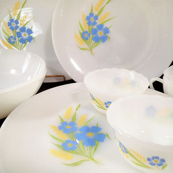 Anchor Hocking Fire King Forget Me Not dinnerware set 11 piece set, blue flowers golden yellow fern on milk glass 1960's retro dishes