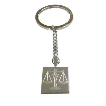 Silver Toned Etched Scale of Justice Law Pendant Keychain