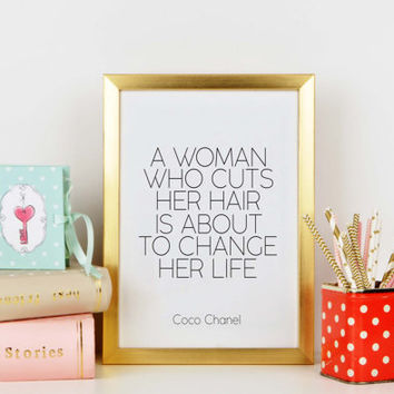 Wall artwork,Coco Chanel Quote,Chanel Print,Hair Salon Wall Art,Beauty Salon Decor,Salon Wall Art,Fashion Print,Typography Print