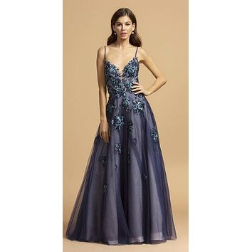 Criss-Cross Back Appliqued Long Prom Dress Navy Blue/Teal