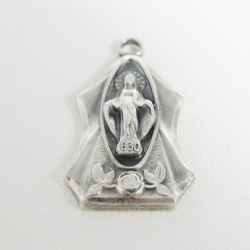 Miraculous Medal Sterling Silver Virgin Mary Jesus Catholic Christian Pendant Jewelry Dimensional Charm