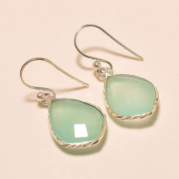 Acqua Chalcedony 925 Sterling Silver Handmade Earrings Fine Earrings Gemstone Earrings Silver Earrings