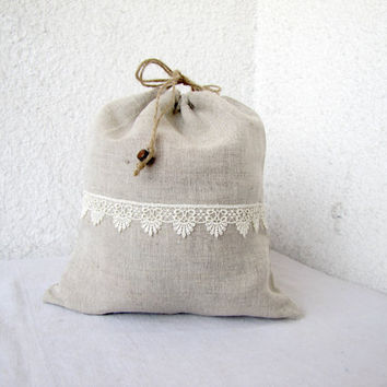 Linen and lace Drawstring bag gift bag reusable by HelloVioleta